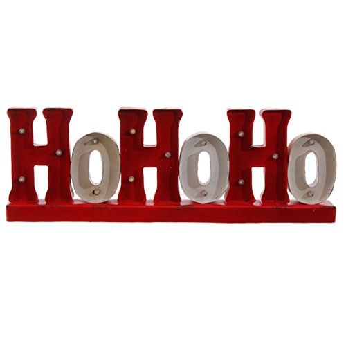 Ho Ho Ho LED Lighted Metal Red Christmas Sign, 18.5 X 7 Inch, Battery Operated