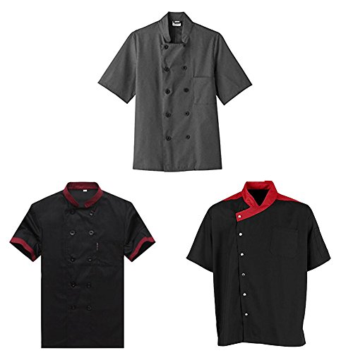 34 Coat Apron (TopTie 3 Pack Men & Women Short Sleeve Chef Coat Jackie-SET4-XS)