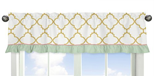 Sweet Jojo Designs Ava Mint Coral White and Gold Trellis Window Treatment Valance