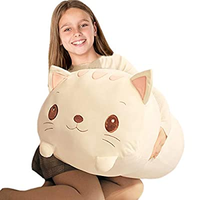 Soft PP Cotton Cat Plush Kitty Body Pillow, Large Fluffy White Kitten Stuffed Animals, Cuddle Cat Hugging Toy Gifts for Kids, 23.6Inch: Home & Kitchen