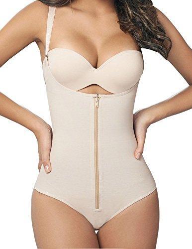 Seamless Shape - SHAPERX Camellias Womens Faja Seamless Firm Control Shapewear Zipper Closure Open Bust Bodysuit Body Shaper Slimmer Shaperwear Beige, SZ70950-Beige-3XL
