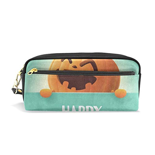 Pencil Case/Makeup Bags Happy Halloween Pumpkin Face Emoji Big Capacity Portable Pencil Bag for College Students/Women/Adults