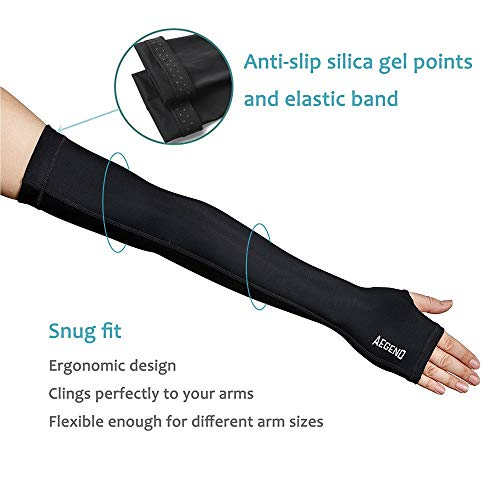 Aegend Adult Arm Sleeves with Thumb Holes, UV Sleeves Compression Arm Sleeves for Men Women Youth