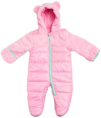 Wippette Baby Girls Snowsuit Poly Filled Pram with Fur Trim, Size 3-6 Months, Pink