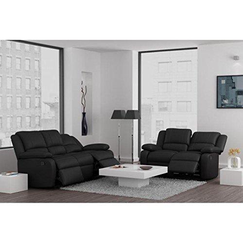 Juego de sofás piel sintética NEGRO 3 + 2 plazas relax ...