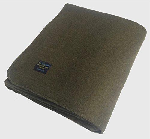 ExoVantage WOOL Blanket (80% WOOL) Olive Green Warm Military Grade Emergency Blanket Large 64