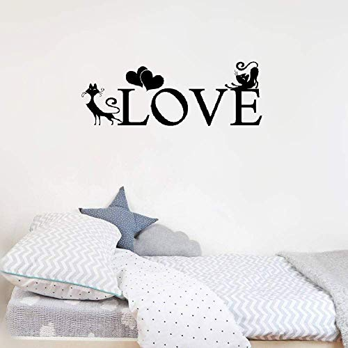 Woauy Wall Sticker Removable Home Decor Wall Vinyl Decals French Quote Chats D'Amour Monts Pour La Chambre Mounted Love Cats for Bedroom -