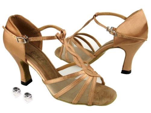 Very Fine Ladies Women Ballroom Dance Shoes EK1692 With 2.5 Heel Brown Satin & Flesh Mesh T11j6aw