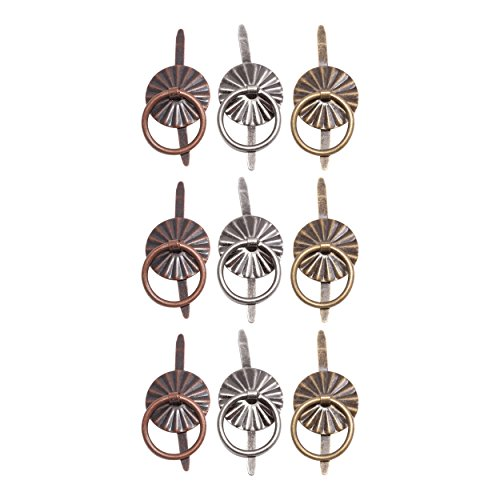 Tim Holtz Idea-ology Ring Fasteners, 9 Brad Fasteners with Fluted Tops and Attached Jump Rings, Nickel, Brass, Copper, Craft Embellishments, TH93060 ()