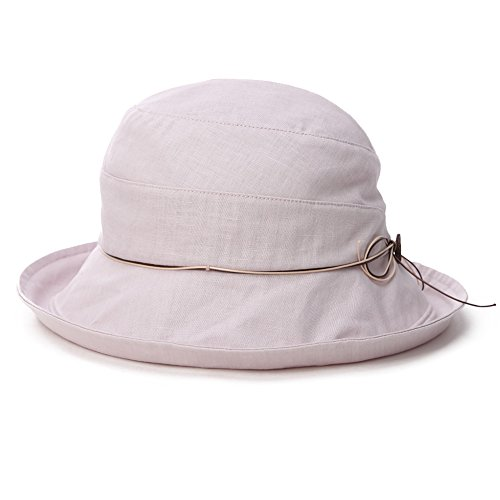 SPF 50+ Cotton Linen Packable Bucket Sun Hats for Women Wide Brim Sunhat with Chin Cord Summer Gray Small Siggi