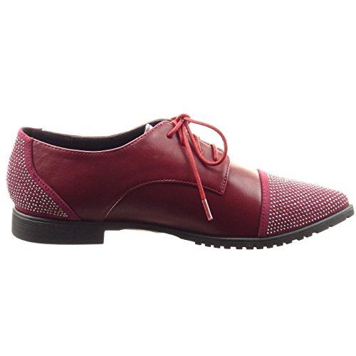 Sopily - Scarpe da Moda scarpa derby alla caviglia donna strass Tacco a blocco 2 CM - Rosso