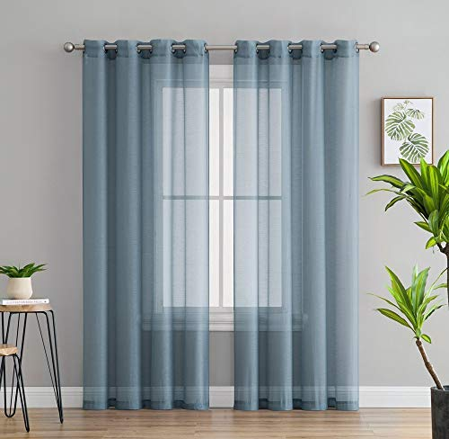 HLC.ME 2 Piece Semi-Sheer Voile Window Curtain Grommet Panels for Bedroom & Kitchen (54