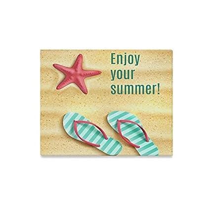 76f78eadb9439 ENEVOTX Wall Art Painting Enjoy Summer Flip Flop Shoes Sea Starfish Beach  Sa Prints On Canvas