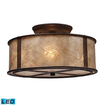 ELK 15031/3-LED, Barringer Mica Semi Flush Ceiling Lighting, 3 Light LED, Aged Bronze