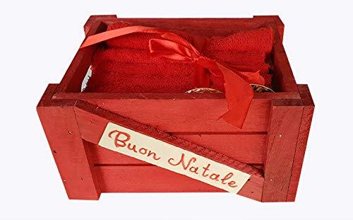 Set Confezione Cestino in Legno con Numero 6 Lavette Mini SALVIETTE Bagno Ospiti 100% Cotone Articolo Natalizio Idea Regalo Lavette Natalizie OM DOLCE CASA