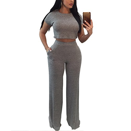 Women's Casual Two Piece Outfits Rib Knit Bodycon Crop Top and Long Pants Set, Gray, X-Large Beaded Knit Pant Set