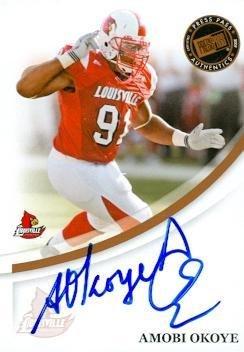Amobi Okoye autographed Football Card (Louisville) 2007 Press Pass Rookie - College Cut Signatures