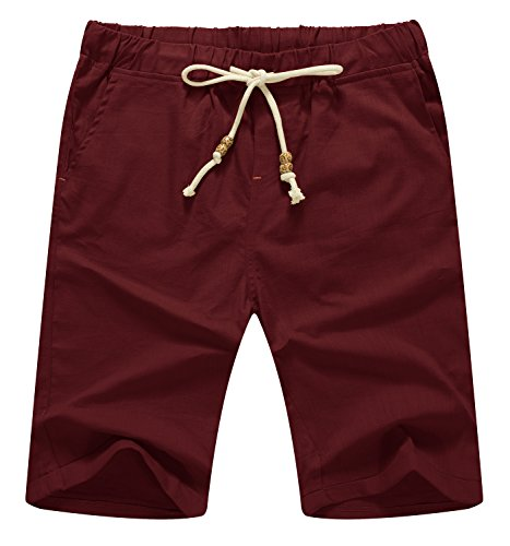 Mr.Zhang Men's Linen Casual Classic Fit Short Summer Beach Shorts Wine Red-US L