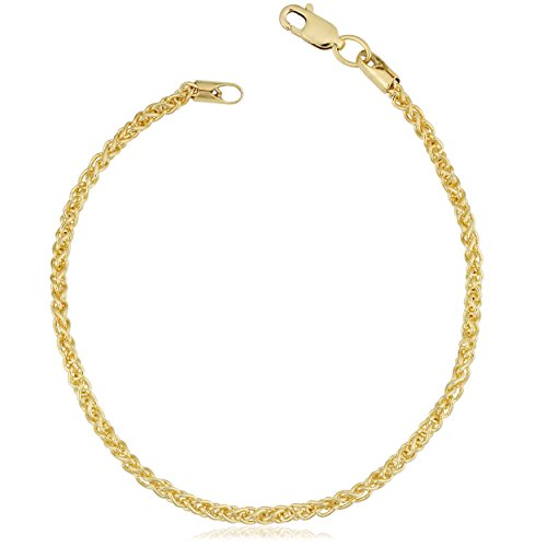Kooljewelry 14k Yellow Gold Filled 2.5 mm Round Wheat Chain Bracelet (7.5 inch)