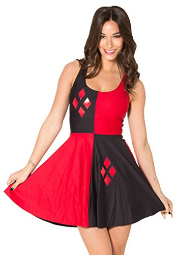 Thenice - Falda - Sin mangas - para mujer rojo y negro