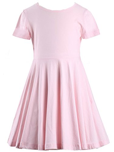 Happy Rose Girls' Cotton Short Sleeve Twirly Skater Party Dress 6 Years -