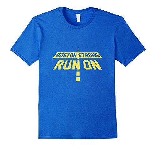 Men's Boston Strong Marathon Run On Shirt Runners Running Shirt Large Royal Blue (Marathon Tshirt)