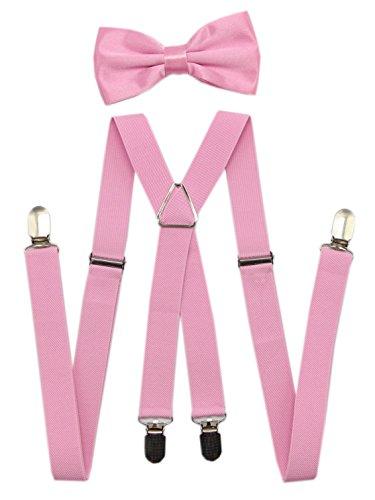 (JAIFEI Men's Suspenders & Bowtie Set - Perfect For Weddings & Formal Events (Pink))