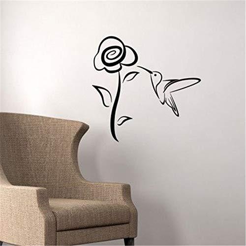 Retuay Vinyl Decal Quote Art Wall Sticker Mirror Decal French Grande Fleur Et Petit Oiseau Pour Salon Chambre Big Flower and Little Bird for Living Room Bedroom