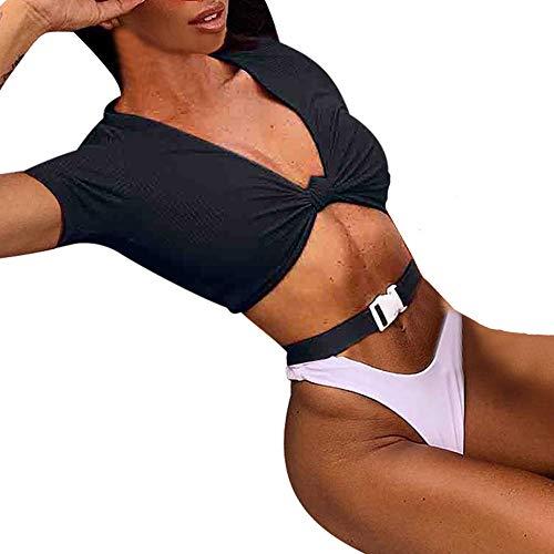 Push up Swimwear Bikini Bathing Suits Pure Color Front Bikini Split Swimsuit Thong Bikini Set ()