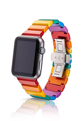 38mm JUUK Ligero Premium Apple Watch band, made with Swiss quality using the highest grade 6061 series aluminum with a solid stainless steel butterfly deployant buckle (Rainbow) by JUUK
