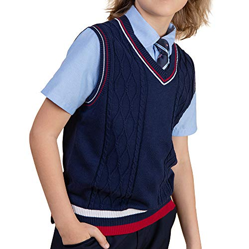 (Benito & Benita Boys Uniform Vest V-Neck Sweater Vest Sleeveless Kinted School Sweater for Boys/Girls Homecoming Gift)