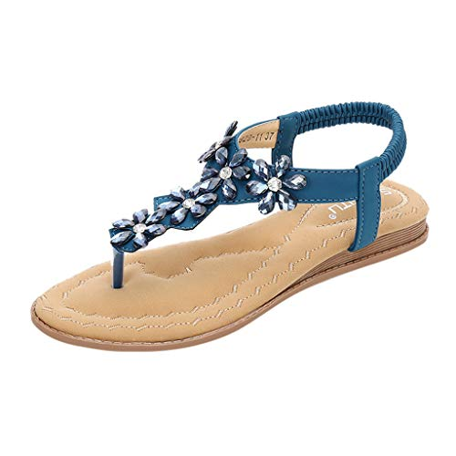 ONLY TOP Women Strap Flat Sandals Shoes - Summer Bohemian Ankle T Strap Thong Shoes Strappy Flip Flops Sandals Blue