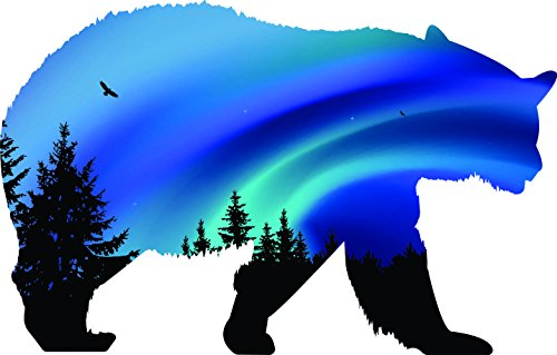 Animal bear walking right northern lights 4x5.4 USA america symbol sticker decal die cut vinyl - Made and Shipped in USA