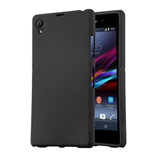 Cadorabo Case Works with Sony Xperia Z1 Compact in Frost Black - Shockproof and Scratch Resistant TPU Silicone Cover - Ultra Slim Protective Gel Shell Bumper Back Skin