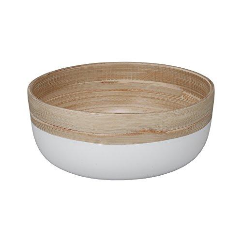 - Handmade Coiled Bamboo Small Seving Bowl (White)