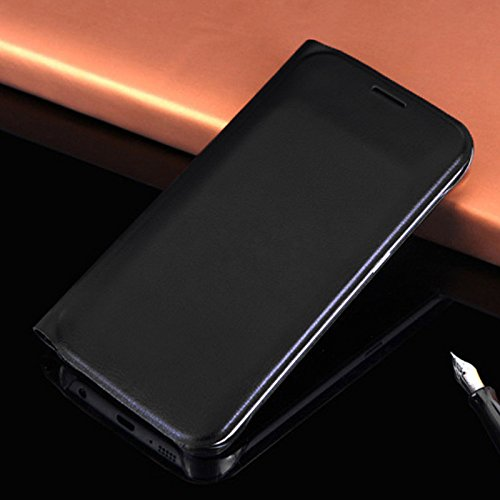 Merssavo Negro Lujo Original para la Cubierta de la Caja del Tirón de la Tarjeta de la Carpeta del Cuero del Borde Para Samsung S7 Edge