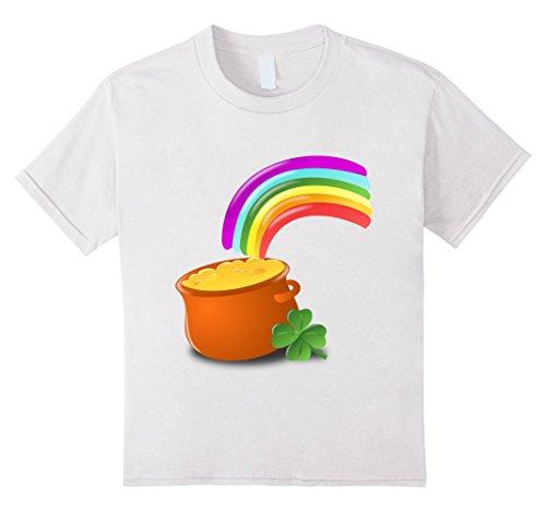 Price comparison product image Kids Cute Rainbow & Pot of Gold t-shirt Shamrock Irish Love 10 White