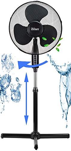 Standventilator-41-cm-40-Watt-3-Stufen-Leiser-Betrieb-Ventilator-180-Rotation-Windmaschine-Luftkhler-Klimagert-Turmventilator-Bodenventilator-Fan-Hhenverstellbar