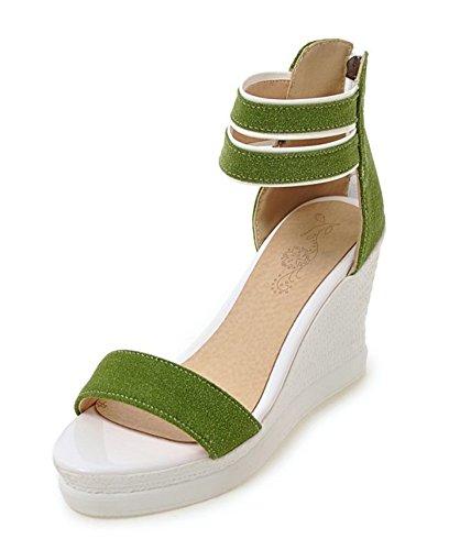 Aisun Damen Offene Zehen Durchgängig Plateau Keilabsatz Knöchelriemchen Sandale Grün