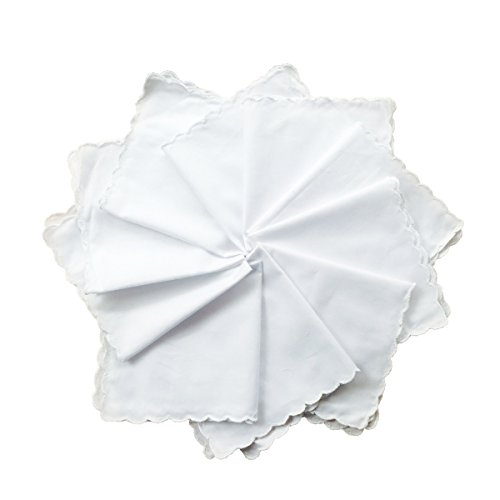 New White Cotton Handkerchiefs Hankies with Scalloped Edge-30cm (Edge Handkerchief)