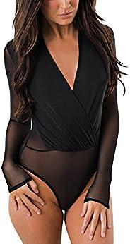 ADEWEL Women's Sleeveless Stretchy Sheer Mesh Leotard Bodysuit Jumpsuit Tops(Black,La