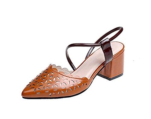35 singola e scarpe 38 sandali scarpe estivi NVXIE tacco fibbia Baotou fiammifero donna da ruvido modelli tutto Brown cava estive primavera signore HwXvqP
