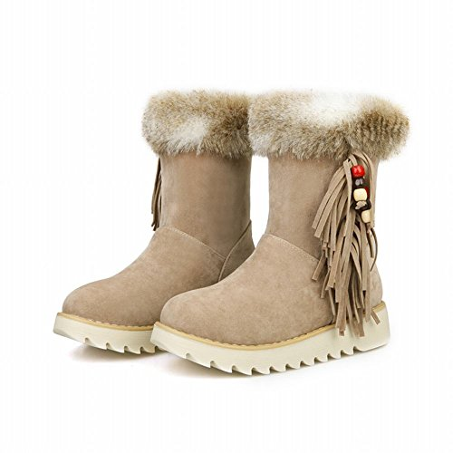 Latasa Womens Fashion Tassel Beads Platform Short Winter Cold Weather Snow Boots apricot Xj2Kpf7VBu