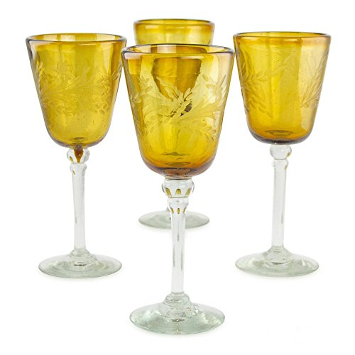 NOVICA Hand Blown Yellow Recycled Glass Wine Glasses, 9 oz 'Amber Flowers' (set of 4) Amber Blown Glass