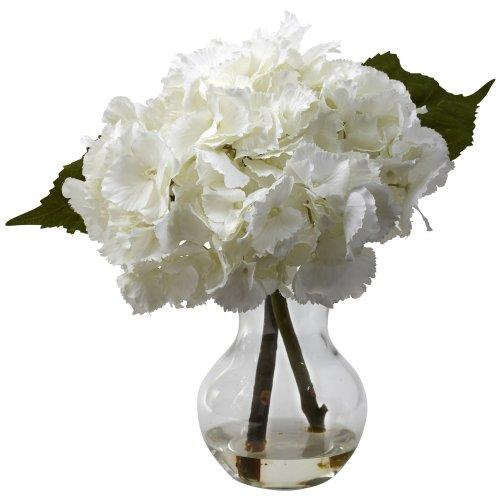 Nearly Natural 1314 Blooming Hydrangea with Vase Arrangement, White (Hydrangea Silk Flowers In Vase)