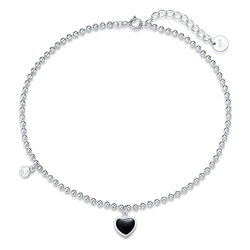 Agvana Sterling Silver Anklet Cubic Zirconia CZ Black Heart Beach Ankle Bracelet Summer Jewelry Gifts for Women Girls 8.7''+ 1.4''