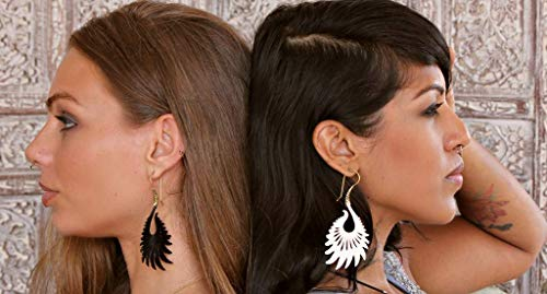 (Cocoroots Women Tribal Earring Carved Horn or Bone or Mother of Pearl with Brass Hook Sun Ray)