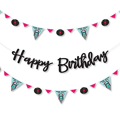Big Dot of Happiness 50's Sock Hop - 1950s Rock N Roll Birthday Party Letter Banner Decoration - 36 Banner Cutouts and Happy Birthday Banner Letters Birthday Party Letter Banner