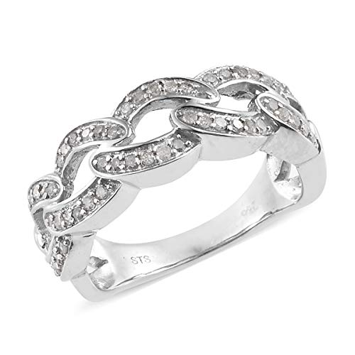 925 Sterling Silver Platinum Plated Round Diamond Bridal Anniversary Ring Size 9 Cttw 0.5 -