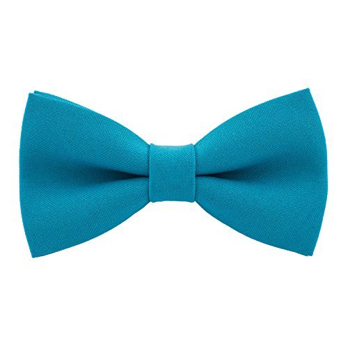 Classic Pre-Tied Bow Tie Formal Solid Tuxedo, by Bow Tie House (Large, Avalon Teal)